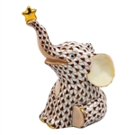 Herend Reach For The Stars Elephant Figurine Chocolate Fishnet