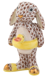 Herend Beach Bunny Rabbit Figurine Chocolate Fishnet