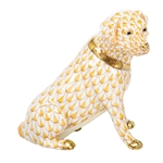 Herend Figurine Labrador Retriever Dog Butterscotch Fishnet