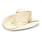 Herend Cowboy Hat Figurine Butterscotch Fishnet