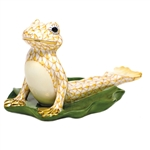 Herend Figurine Yoga Frog in Cobra Pose Butterscotch Fishnet
