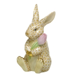 Herend Figurine Blossom Bunny Rabbit Butterscotch Fishnet