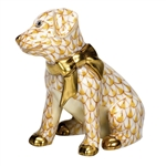 Herend Figurine Doggie Dazzle Puppy Butterscotch Fishnet