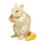Herend Figurine Chipmunk with Acorn Butterscotch Fishnet