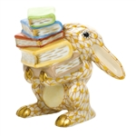 Herend Figurine Scholarly Bunny Rabbit Butterscotch Fishnet