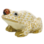 Herend Figurine Frog With Ladybug Butterscotch Fishnet