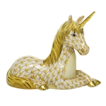 Herend Unicorn Figurine Butterscotch Fishnet