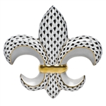Herend Fleur-De-Lis Paperweight Black Fishnet