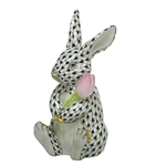 Herend Figurine Blossom Bunny Rabbit Black Fishnet
