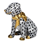 Herend Figurine Doggie Dazzle Puppy Black Fishnet