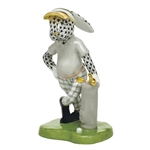 Herend Figurine Golf Bunny Rabbit Black Fishnet