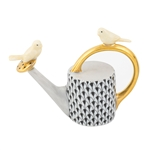 Herend Watering Can with Birds Figurine Black Fishnet