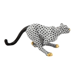 Herend Small Running Cheetah Black Fishnet