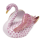 Herend Swan Figurine Raspberry Fishnet