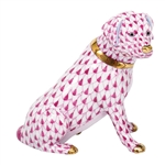 Herend Figurine Labrador Retriever Dog Raspberry Fishnet