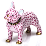 Herend Figurine Puppy Dog Frenchie Raspberry Fishnet
