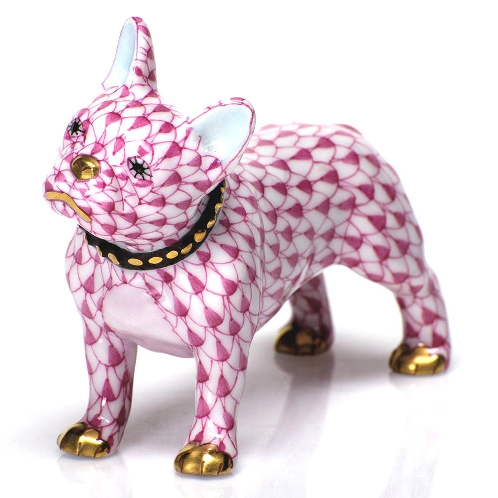 Herend Figurine Puppy Dog Frenchie Raspberry Fishnet