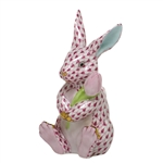 Herend Figurine Blossom Bunny Rabbit Raspberry Fishnet