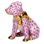 Herend Figurine Doggie Dazzle Puppy Raspberry Fishnet