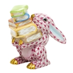 Herend Figurine Scholarly Bunny Rabbit Raspberry Fishnet