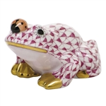 Herend Figurine Frog With Ladybug Raspberry Fishnet