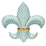 Herend Fleur-De-Lis Paperweight Green Fishnet