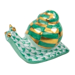 Herend Baby Snail Figurine Green Fishnet
