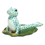 Herend Figurine Yoga Frog in Cobra Pose Green Fishnet