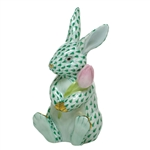 Herend Figurine Blossom Bunny Rabbit Green Fishnet