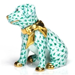 Herend Figurine Doggie Dazzle Puppy Green Fishnet