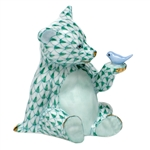 Herend Figurine Baby Bear with Bird Green Fishnet
