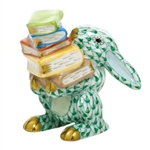 Herend Figurine Scholarly Bunny Rabbit Green Fishnet