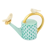 Herend Watering Can with Birds Figurine Green Fishnet