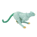 Herend Small Running Cheetah Green Fishnet
