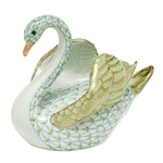 Herend Swan Figurine Key Lime Fishnet