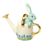 Herend Figurine Watering Can Bunny Rabbit Key Lime Fishnet