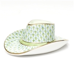 Herend Cowboy Hat Figurine Key Lime Fishnet