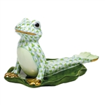 Herend Figurine Yoga Frog in Cobra Pose Key Lime Fishnet