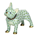 Herend Figurine Puppy Dog Frenchie Key Lime Fishnet