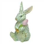Herend Figurine Blossom Bunny Rabbit Key Lime Fishnet