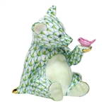 Herend Figurine Baby Bear with Bird Key Lime Fishnet