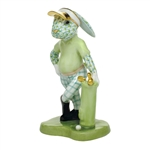 Herend Figurine Golf Bunny Rabbit Key Lime Fishnet