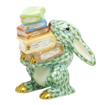 Herend Figurine Scholarly Bunny Rabbit Key Lime Fishnet