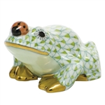 Herend Figurine Frog With Ladybug Key Lime Fishnet