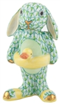 Herend Beach Bunny Rabbit Figurine Key Lime Fishnet