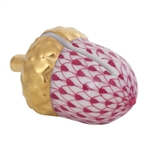 Herend Acorn Place Card Holder Raspberry Fishnet