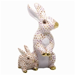 Herend Figurine Bunny with Baby Reserve Collection
